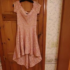 Rose high-low dress